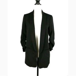 H&M 3/4 ruched sleeve open boyfriend blazer